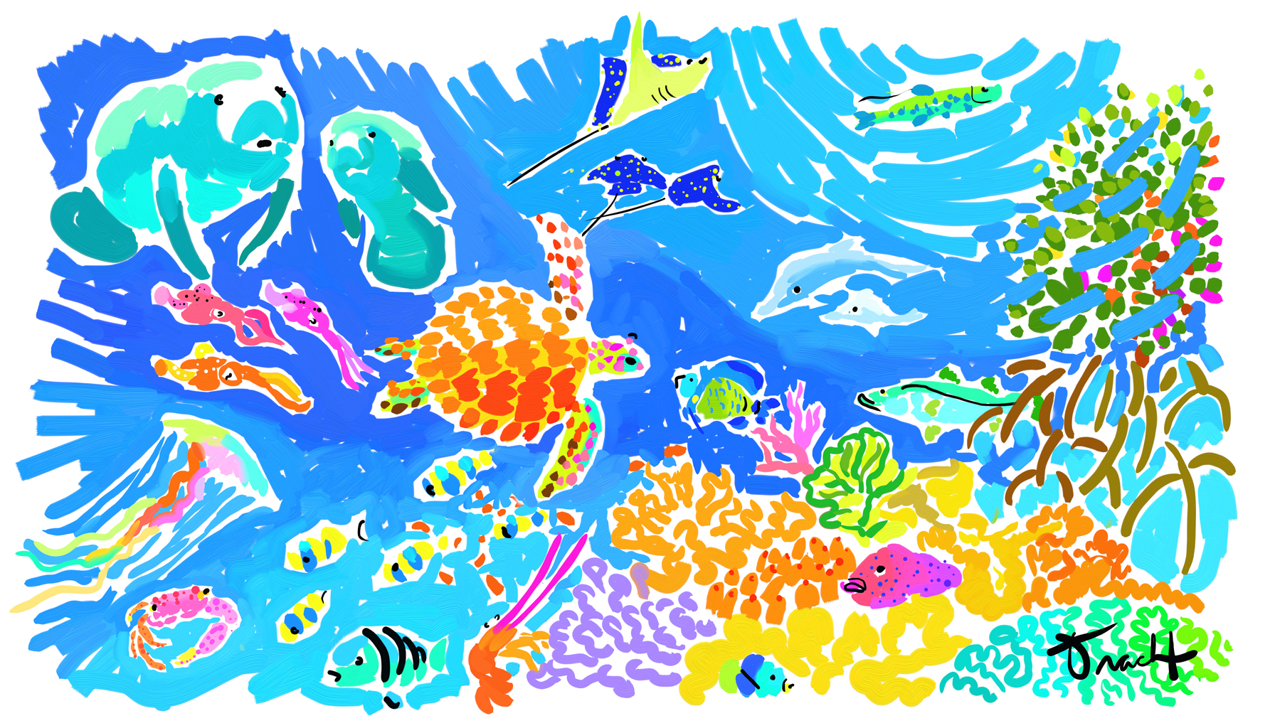 Fine art island style galleries for Coral reef mural