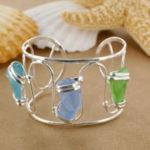 Sea Glass Tri Stone Cuff