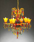 Sunset Colors Beach Glass Chandelier