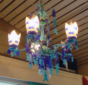 Dramatic lamps and lighting sea blue beach glass chandelier aloadofball Choice Image